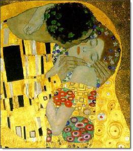 Gustav Klimt: El beso (detalle).